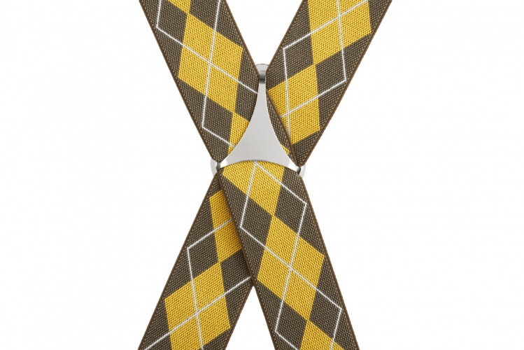 Mustard Yellow Brown Argyle Trouser Braces Mens X Back New Non Pristine